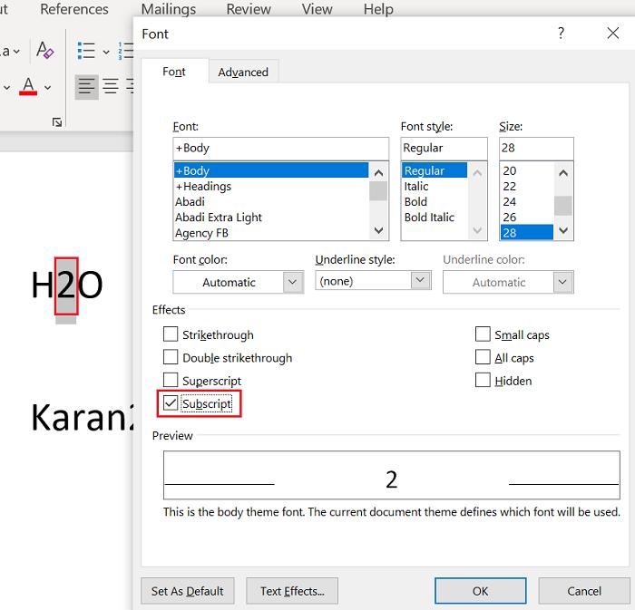 Thêm chỉ số trên hoặc chỉ số dưới trong Microsoft Word