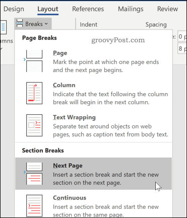 Inserting a section break in Word
