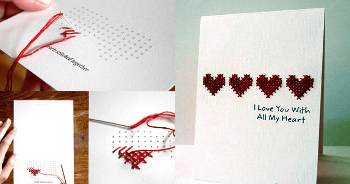 Cách thực hiện thiệp thêu chữ thập tặng người yêu ngày Valentine