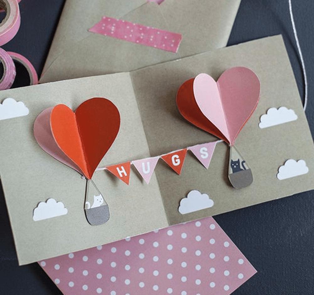 Thiệp Valentine 3D khinh khí cầu tình yêu cho bạn