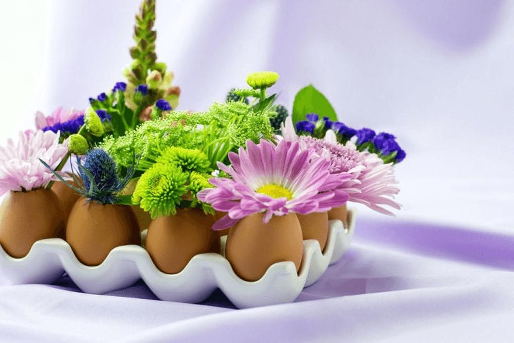 Độc đáo với cách cắm hoa trong vỏ trứng