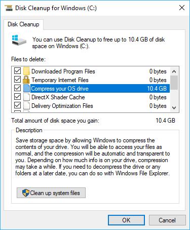 Disk Cleanup Nén ổ đĩa hệ điều hành của bạn